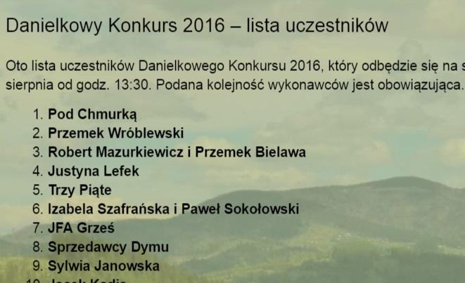 Danielkowy Konkurs 2016 – lista uczestników