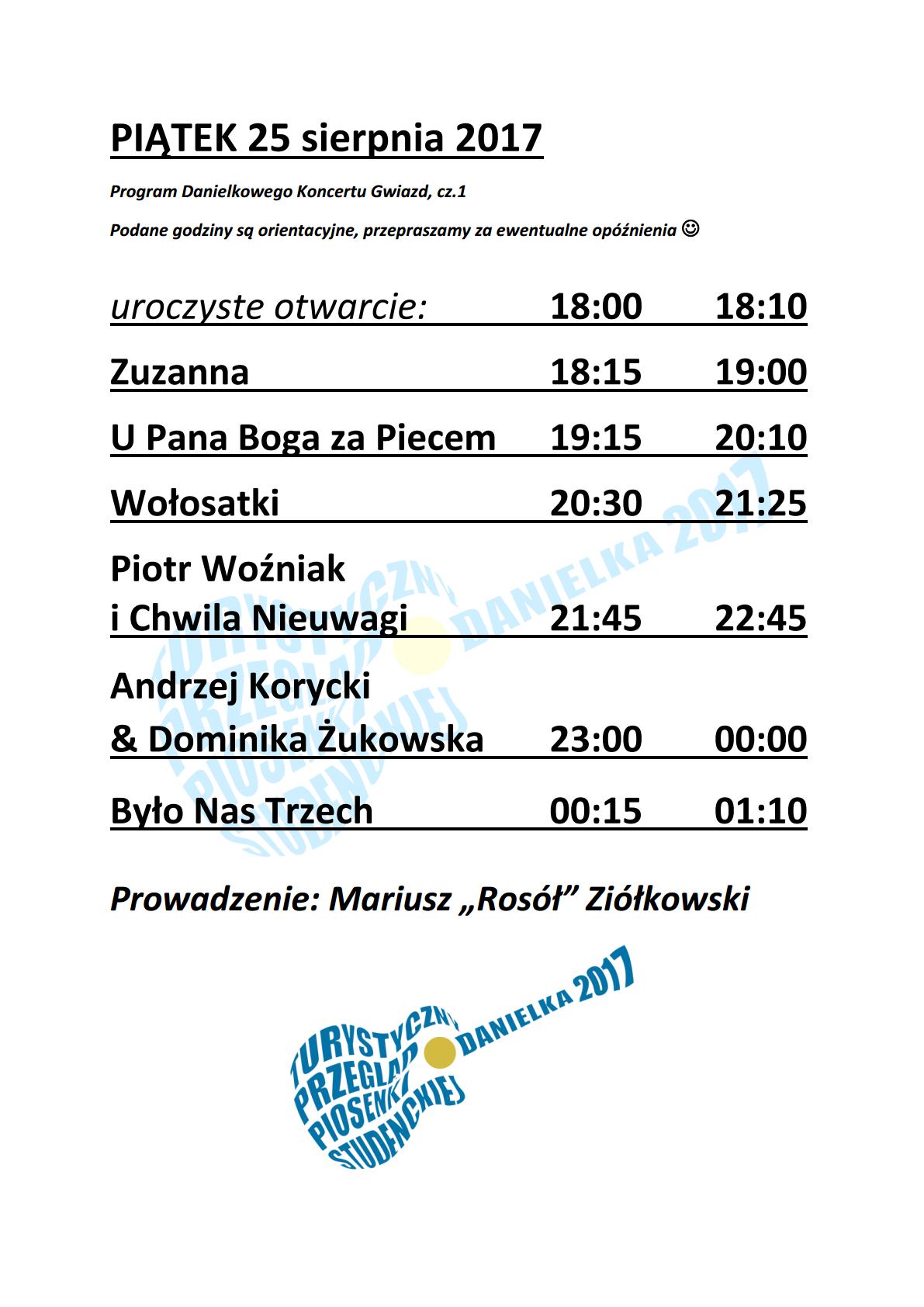 Program godzinowy Danielki 2017 – piątek