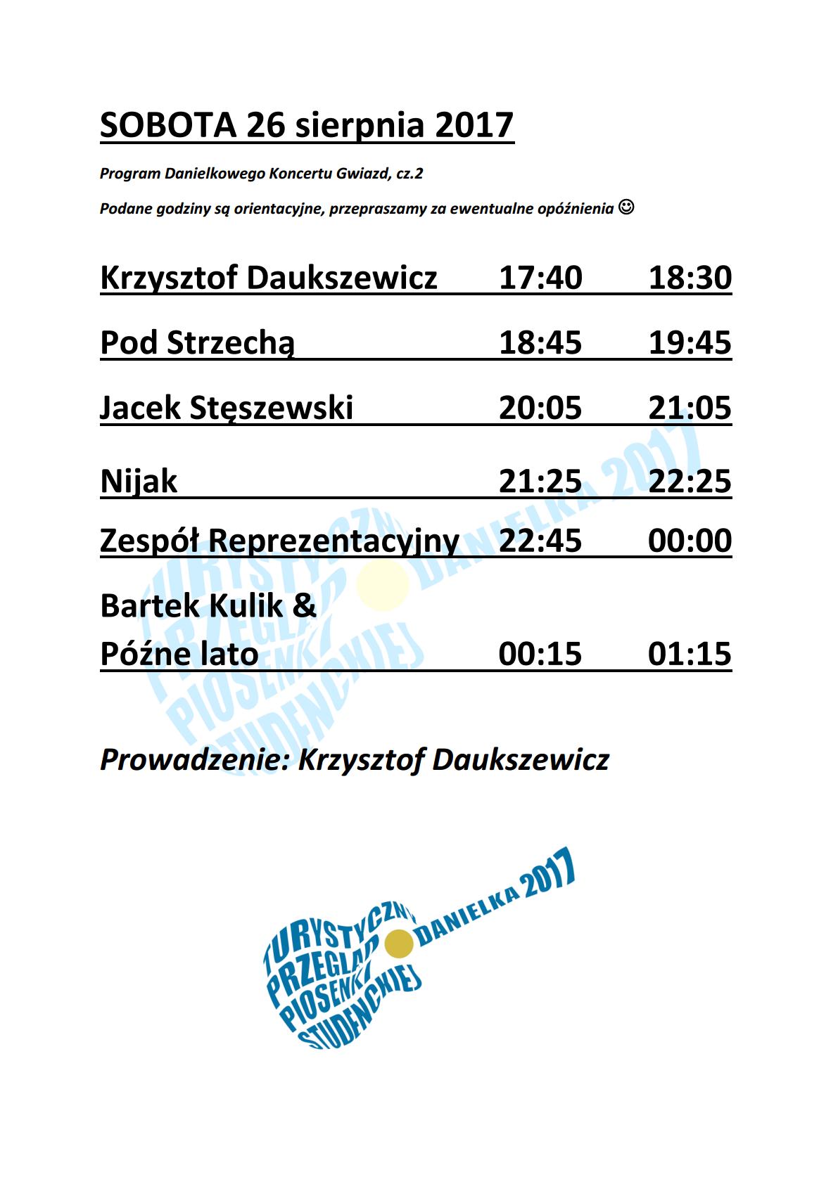 Program godzinowy Danielki 2017 – sobota